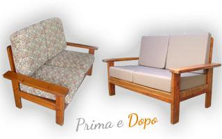 Rivestimento divani. Esempi e fotografie di cuscini rifatti
