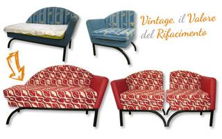 Rifacimento Divano Vintage, con tessuto Rosso Ricamato