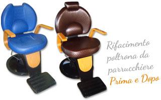Rifacimento del sedile e dello schienale di una poltrona da Parrucchiere