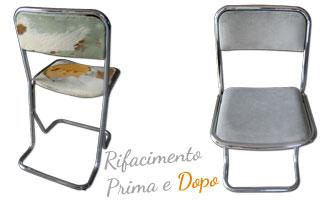 Immagine del rifacimento della seduta di una sedia da ufficio in pelle e metallo. Ricostruzione e rivestimento del sedile e dello schienale